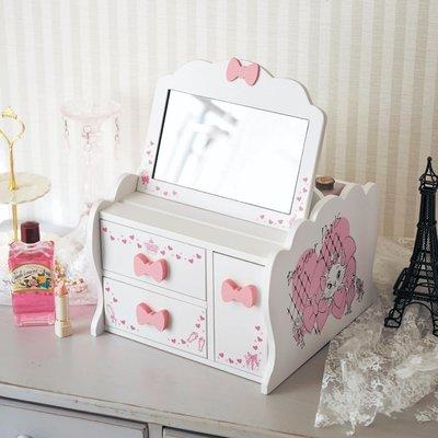 迪士尼Disney公主系列《預購》小美人魚愛麗兒 美女與野獸貝兒 瑪麗貓木質附鏡化妝箱 化妝台~日本製~共3款~心心小舖