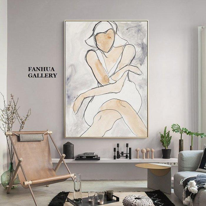C - R - A - Z - Y - T - O - W - N 時尚女性人物線條抽象掛畫辦公室書房臥室客廳玄關裝飾畫