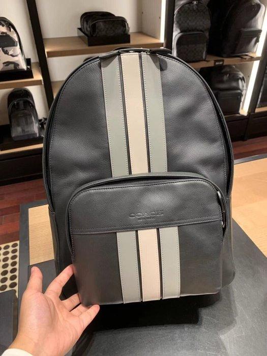 小皮美國正品代購 COACH 72964 新款男士雙肩包 大號全皮條紋後背包 旅行包 書包 休閒時尚 附購證