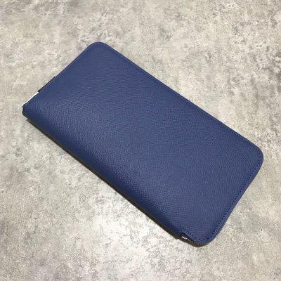 Hermes 絲巾長夾 Epsom 7E Blue Brighton 布萊頓藍《精品女王全新&二手》
