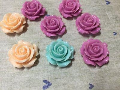 28mm 紫 藍 橘 中玫瑰花 造型DIY素材 袖珍小物 奶油殼 飾品材料 (現貨)