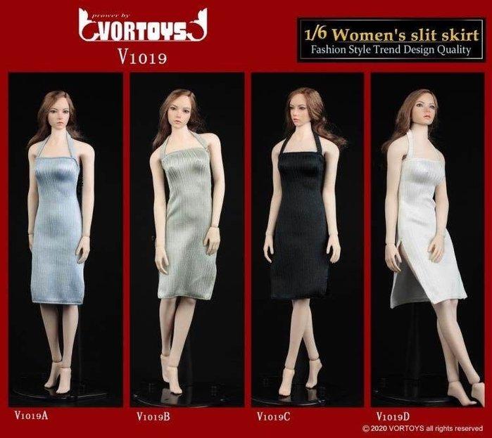 VORTOYS V1019 1/6 女連身開衩裙 適合各種鋼骨包膠女素體  12寸女兵人專用 phicen 嵐素體