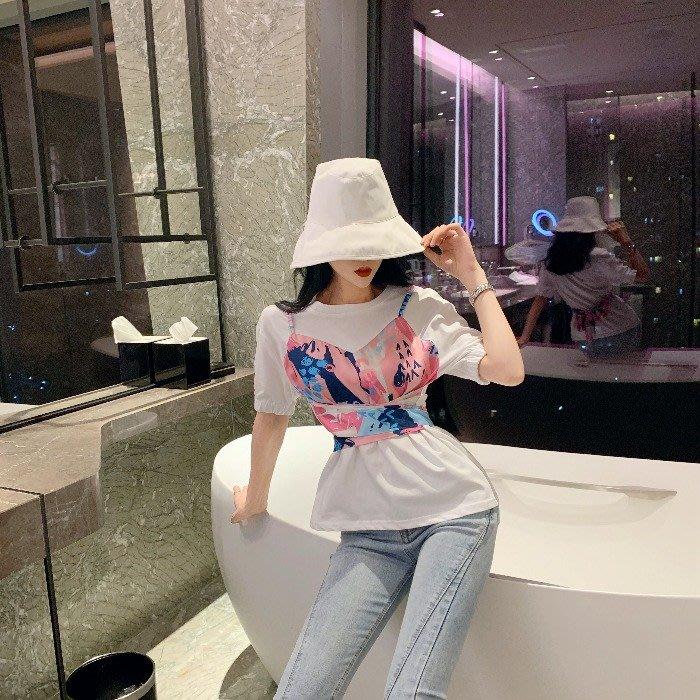 小香風 短袖T恤 時尚穿搭 女裝氣質假兩件碎花吊帶百搭T恤顯廋收腰短款蝴蝶結綁帶上衣