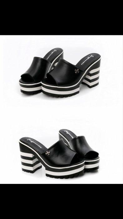 轉售~真皮魚嘴涼拖鞋 耐磨橡膠底高跟防水台女涼鞋 韓版高品質時尚牛皮方跟