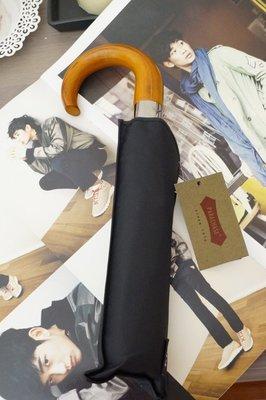 【四季居家用品】PARACHASE 彎勾木柄 十骨防風全自動折疊傘男士商務三折疊雨傘