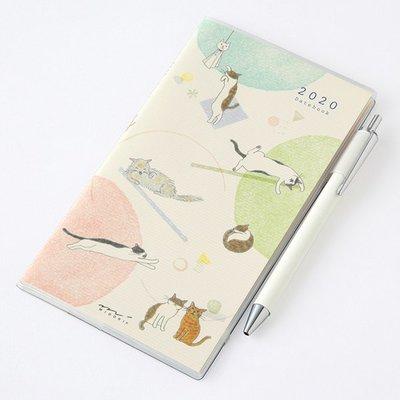 乾媽店。日本製 MIDORI 手繪 動物 貓咪 2020 手帳 手札 月曆 筆記本 隨身攜帶型 monthly