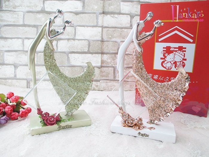 ☆[Hankaro]☆ 婚慶系列商品新郎新娘精緻浪漫婚禮美滿良緣人型擺飾新婚禮品