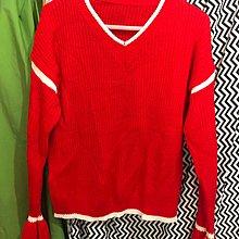全新紅色 針織上衣 白色邊寬袖喇叭袖冷衫 長袖舒服衫(B)