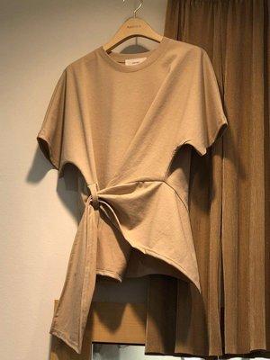 『LOCO』 新品正韓氣質純色交叉綁帶圓領短袖T恤女休閒顯瘦上衣潮CO686