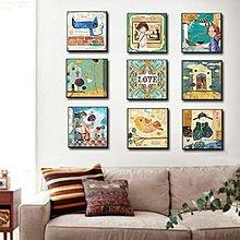 美式卡通動漫小可愛裝飾畫客廳照片牆畫走廊掛畫臥室兒童玄關壁畫(16款可選)