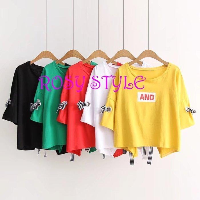 【ROSY STYLE】~夏季韓版短袖綁帶繽紛上衣, 寬版均碼,黃, 白, 紅, 黑, 綠 F350 實拍8 ,9圖