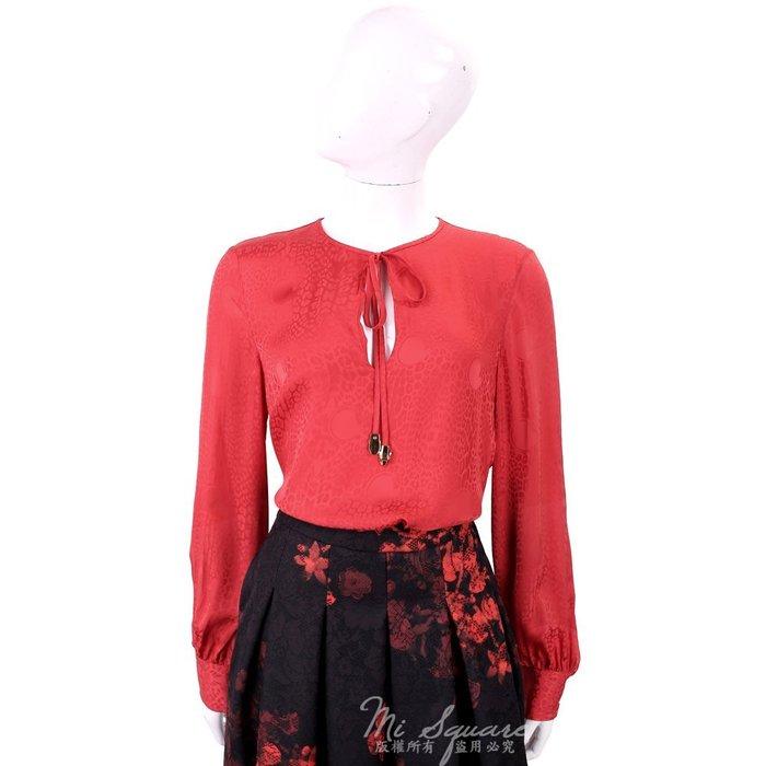 米蘭廣場 CLASS roberto cavalli 紅色緹花絲緞長袖上衣 1710653-54