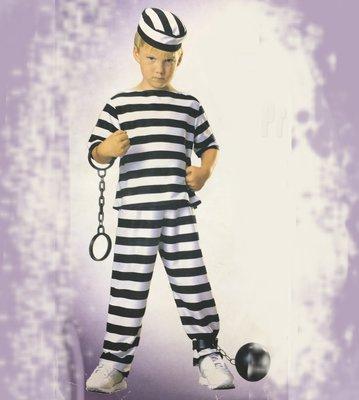 【洋洋小品兒童造型裝扮服囚犯 犯人】桃園平鎮小孩萬聖節服裝化妝表演舞會派對造型角色扮演服裝道具