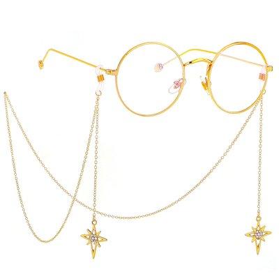 掛鍊 眼鏡鍊 眼鏡繩 防滑 配件 金屬眼鏡繩 金色 十字星星 吊墜 眼鏡鏈 時尚廠家跨境