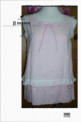 JJ mama【粉】日森林純棉質兩件式造型清秀佳人上衣