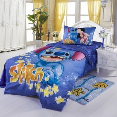 【易發生活館】熱賣 迪士尼活性全棉卡通床上用品三四件套星際寶貝史迪奇史迪仔150*200床