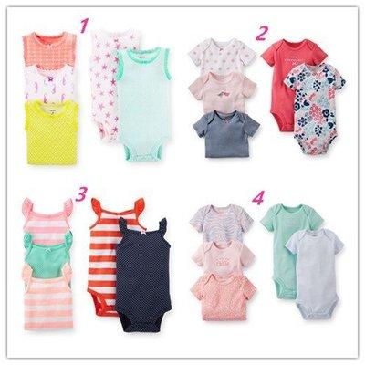 【Carters】卡特 美國正品 女寶寶 短袖包屁衣五件組 連身包臀衣 包屁衣 連身裝 兔裝