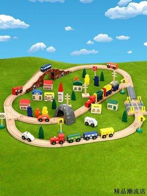 木製玩具 木製軌道組 兒童玩具 軌道橋 多功能木質軌道積木玩具百變軌道車六合一益智兒童拼搭拼插2-5歲