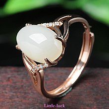 Little-luck~新疆和闐玉戒指白玉戒指 女款S925銀白玉戒指玉石玉器戒指配證書