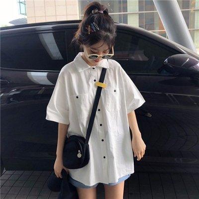 小香風 短袖T恤 時尚穿搭 韓版 女裝寬松工裝純色短袖襯衫中長款學生襯衣設計感小眾上衣