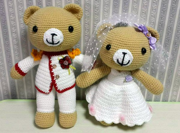 【客製化手工毛線勾針娃娃】婚禮小物-可愛新郎新娘熊,可任選顏色;結婚紀念日禮物