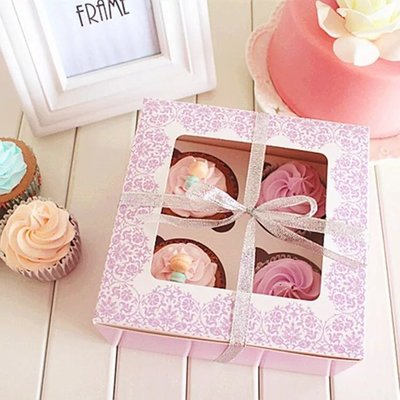 cupcake box紫色花花圖騰開窗西點盒 杯子蛋糕 烘焙包裝 泡芙 打包紙盒 四格 瑪芬 布丁 烤布蕾 保羅瓶