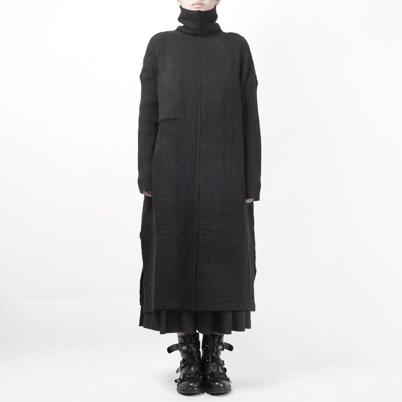【鈷藍家】DL yohji山本風暗黑拼接高領毛衣連身裙套頭針織衫OP懶人裙