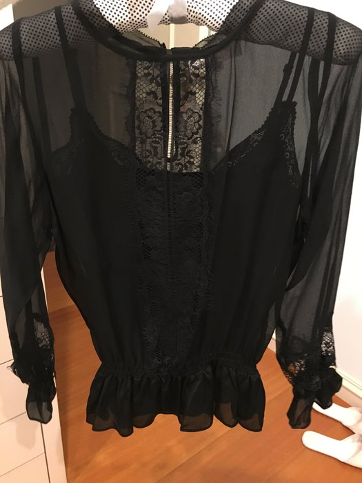 Chloe款 黑色蕾絲絲襯衫 附內裡蕾絲細肩帶