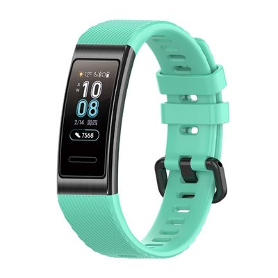 適用於華為手環band 3/band4 pro硅膠錶帶 TER-B09/TER-B29S替換腕帶 時尚透氣運動腕帶 黑扣