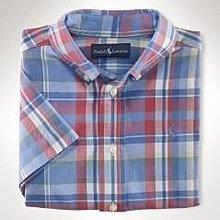 全新美國 Polo Ralph Lauren 粉藍格紋短袖襯衫 6T