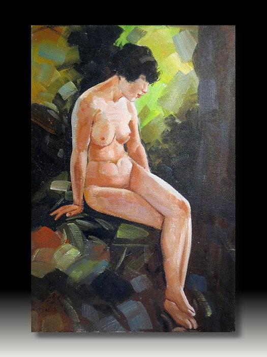 【 金王記拍寶網 】U853  中國近代書畫名家 徐悲鴻 款 手繪油畫一張 裸女圖~ 罕見稀少 藝術無價~