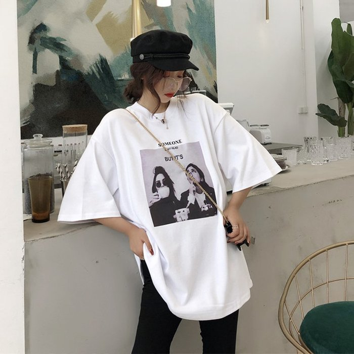 【Tracy's 貓頭鷹小姐】韓國訂單圓領寬鬆相片短袖T/ 顯瘦女上衣T桖潮流古著可愛休閒個性短褲白色灰色黑色實拍