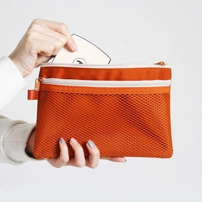 韓國文具【Cube生活雜貨】(預+現)DOUBLE MESH POUCH雙網袋化妝包/收納包(旅行收納.袋中袋.3C收納