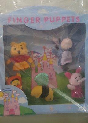 香港 迪士尼Disney小熊維尼跳跳虎驢子粉紅豬蜜蜂組手指偶指套娃娃/精緻藏品~不拆賣