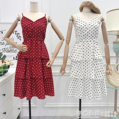 夏季韓版時尚百搭v領波點吊帶中長款洋裝層層蛋糕裙女♥怦然心動♥