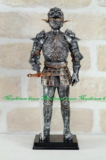 點點蘑菇屋{中古武士擺飾六}鐵甲武士 全身盔甲右手拿寶劍 獸頭盔 歐洲羅馬武士 現貨免運