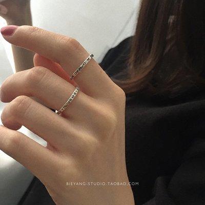 哈尼店鋪*E413韓風簡約時尚chic泰銀希臘字母戒指ins風純銀開口戒指女優惠推薦