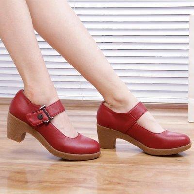 春秋新款廣場舞蹈鞋成人女士現代跳舞鞋中跟牛筋耐磨底舒適皮鞋