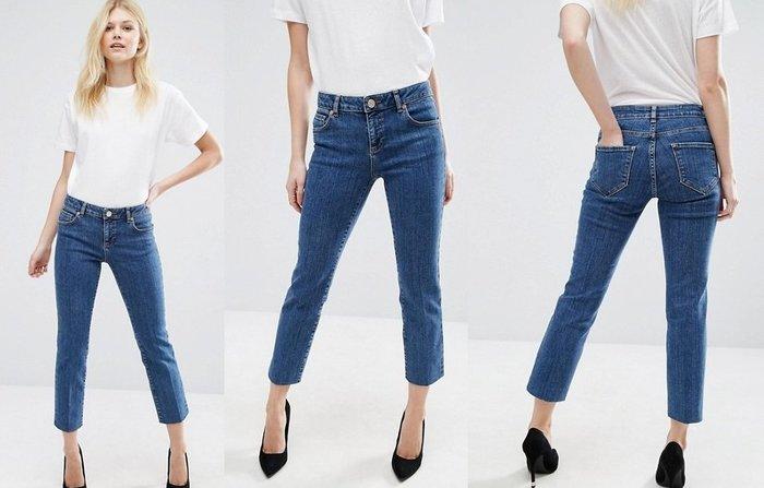 ◎美國代買◎ASOS合身小直筒中高腰剪裁復古甜心中藍刷色高腰七分牛仔褲~歐美街風~大尺碼