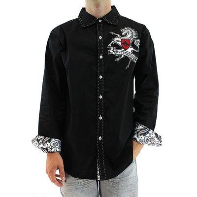 美國進口潮時尚設計【Victorious】駿馬圖騰刺繡黑色長袖襯衫(10213099006)