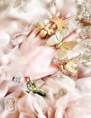 :::W.G:::歐美動物系列奢華蝴蝶蜻蜓蜜蜂戒指 DIOR