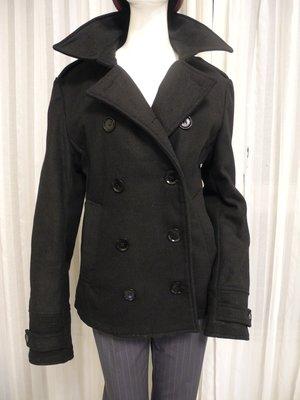 帥氣黑色毛料短大衣 版挺漂亮L號 衣長65cm,胸圍95cm,袖長59cm,肩寬39-40cm 免運費