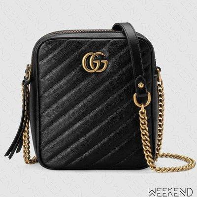 【WEEKEND】 GUCCI GG Marmont Mini 迷你 長方形 皮革 肩背包 黑色 550155