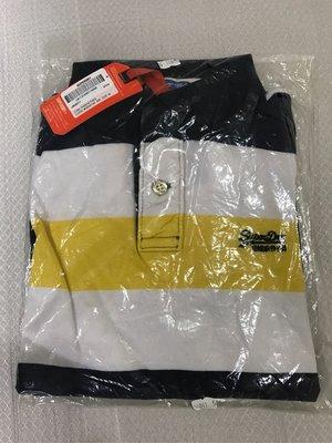 Superdry 藍黃色棉質條紋polo衫M號 全新正品 香港購回