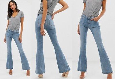 ◎美國代買◎ASOS帶點灰色調藍刷色搭配喇叭褲剪裁復古經典百搭英倫時尚街風中腰喇叭牛仔褲~歐美時尚~大尺碼