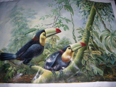 『八哥』手工油畫原作無框長寬約98x68公分最精美可愛的一幅油畫