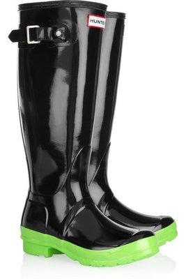 [ Shingo Shop ] HUNTER 綠底亮黑 NEON 雨鞋 雨靴  現貨在台 最後一雙!! 台灣售價4980 UK8號