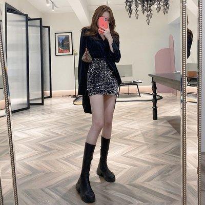 套裝女2020春季港味黑色長袖襯衣絲絨襯衫+包臀裙a字短裙半身裙女