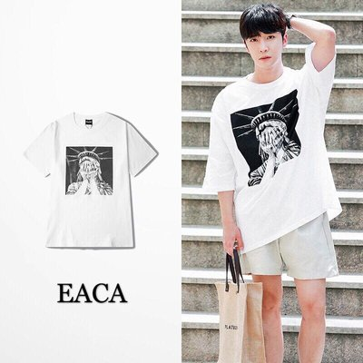 【EACA】Crying Statue Of Liberty 哭泣 自由女神 嘻哈 HIPHOP 短袖T-shirt 白
