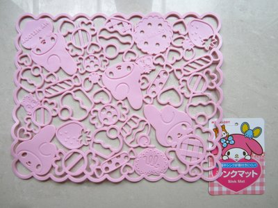日本【MY MELODY】美樂蒂 粉紅色 桌墊 餐墊 SINK MAT 耐熱70度C 保證全新正品/真品 現貨